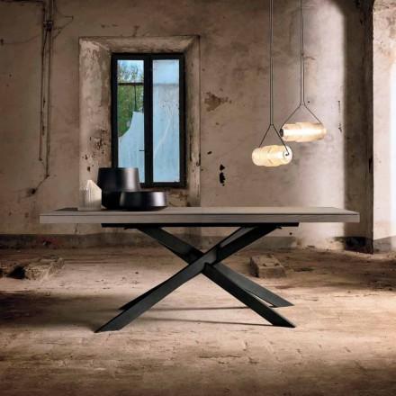 Tavolinë ngrënieje e zgjatur në dru lisi L315 cm e bërë në Itali, Oncino