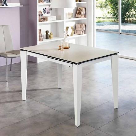 Tavolinë ngrënieje me xham-qeramikë e zgjatur, 120 / 170xP80 cm, Bino