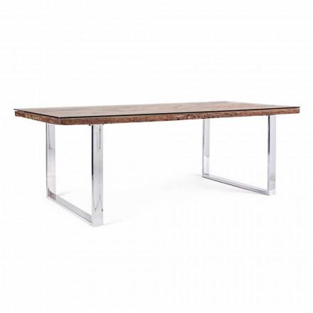 Tavolinë darke Homemotion me dru dhe xham të butë - Blanco