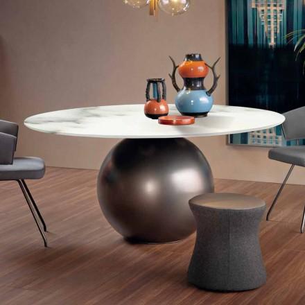 Tavolinë ngrënieje me majë të rrumbullakët në mermer të prodhuar në Itali - Cirku Bonaldo