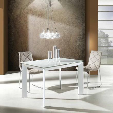 Tavolinë ngrënieje e zgjatur e bërë nga qelqi i rrëmbyer dhe metali Zeno