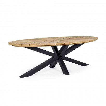 Tavolinë për darkë në natyrë me majë ovale në dru tik, Homemotion - Selenia
