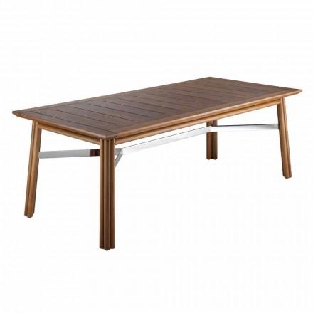 Tavolina për ngrënie kopshti në dru natyral ose të zi, luksoze italiane - Suzana