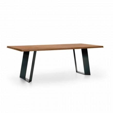 Dizajnoni tryezën e darkës në bredh me këmbë metalike të zeza prodhuar në Itali - Kroma