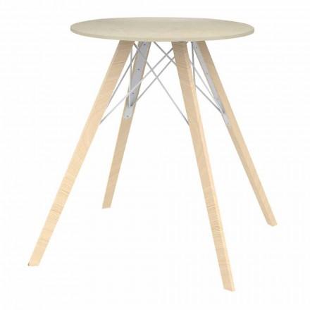 Dizajni i rrumbullakët Tabela e darkës në dru dhe Dekton 4 Copë - Faz Wood nga Vondom