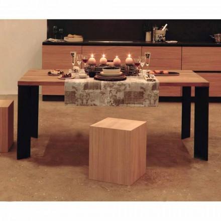 Dizajni tryezë ngrënieje në model natyral arre, L200xP100cm, Yvonne