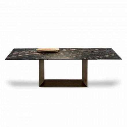 Tavolinë ngrënieje e zgjëruar në qeramikë dhe metalikë e bërë në Itali - kafe e errët