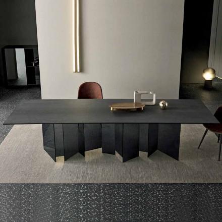 Dizajni i tryezës së ngrënies në bazën e qelqit qeramike dhe të tymosur të bërë në Itali - e rastësishme