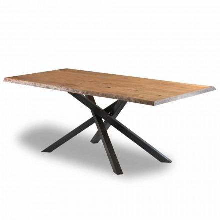 Dizajnoni tryezën e darkës në dru me bazë çeliku të prodhuar në Itali - Licis