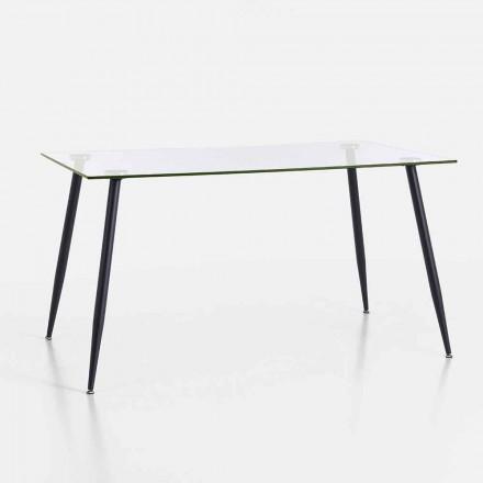 Tavolinë ngrënieje me dizajn modern në qelq të zbutur dhe metal të zi - Foulard