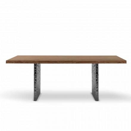 Tavolinë ngrënieje në dru Venereed dhe çelik me çekiç të bërë në Itali - Strappo