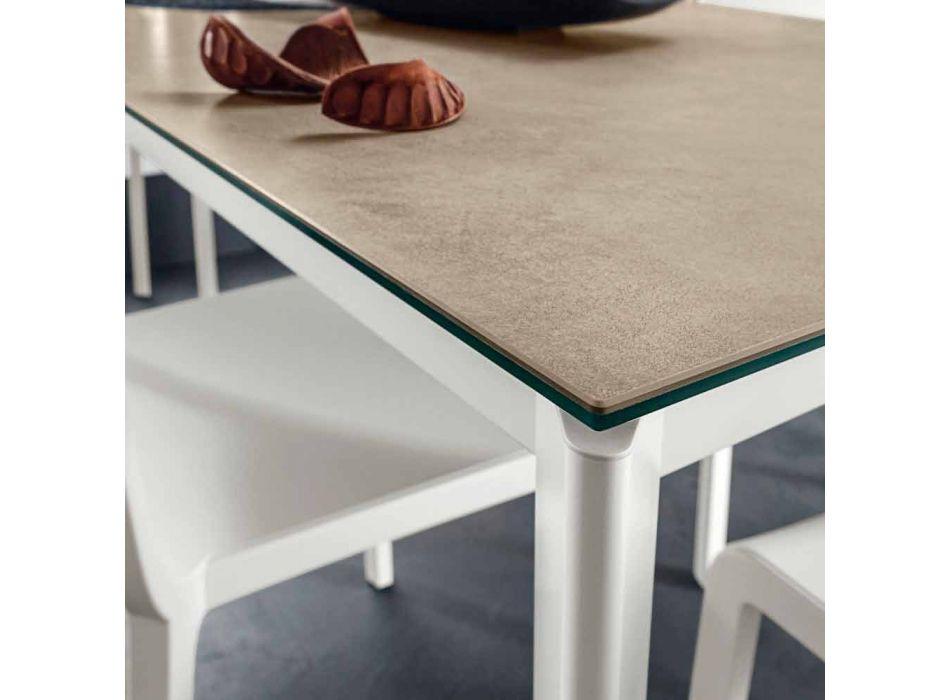 Darkë Laminam Tavolinë me Strukturë Alumini Prodhuar në Itali - Bavari