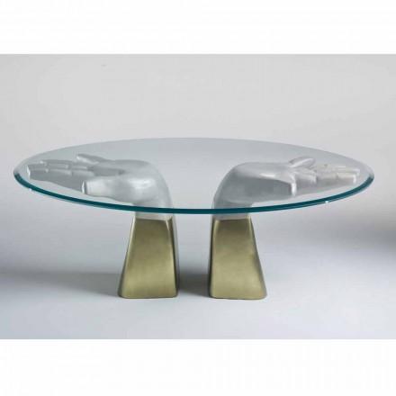 Tavolinë ngrënieje prej druri Bartolo me majë qelqi, dizajn modern italian
