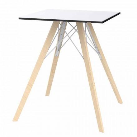 Dru me Dizajn Sheshi dhe Tavolinë Dining Hpl, 4 Copë - Faz Wood nga Vondom