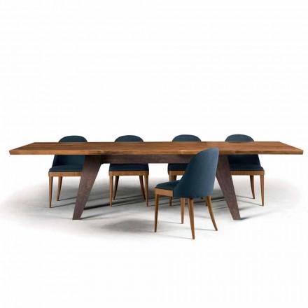 Tavolina ngrënie me dizajn modern Antonio me majë të ngurtë të arrave