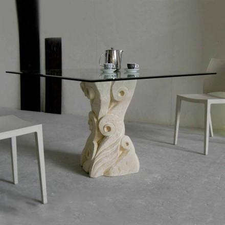 Tavolinë ngrënieje me bazën e gurit Vicenza Giasone, punuar me dorë në Itali