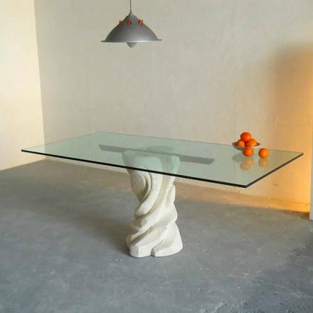 Tavolina ngrënieje e stilistëve të bërë nga guri natyror Vicenza dhe kristali Urano