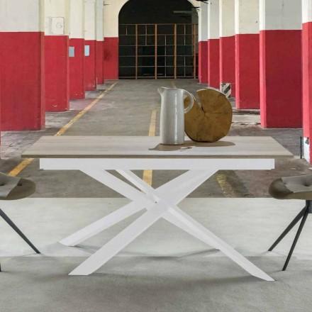 Tavolinë ngrënieje moderne e zgjatur, maja e petëzuar - Marliana