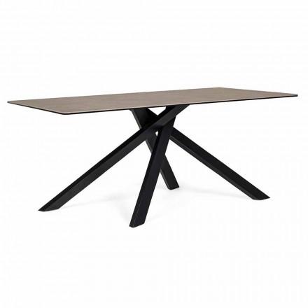 Tavolinë moderne për darkë me lëvizje të sipërme qeramike dhe qelqi - Ringo