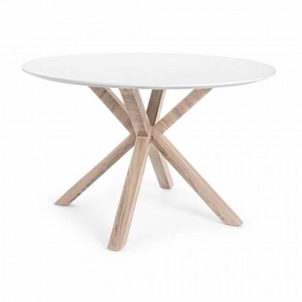 Tavolinë moderne për darkë me majë të rrumbullakët në lëvizje të bardhë Mdf - Vento