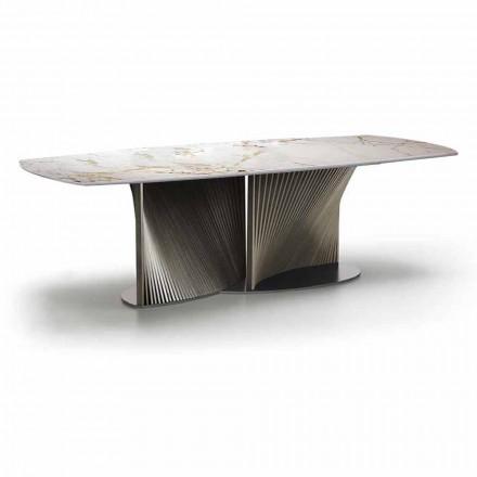 Tavolinë për darkë luksoze në prodhim gresi dhe dru hiri të prodhuar në Itali - Croma