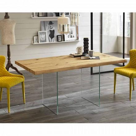 Tavolinë ngrënieje moderne në rimeso lisi, këmbë qelqi Nico