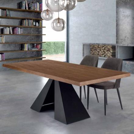 Tabela moderne e ngrënies në dru dhe çelik venere të prodhuar në Itali - Dalmata