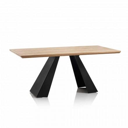 Tavolinë Moderne Drejtkëndëshe për Ngrënie me Top në Ngjyrë Lisi MDF - Volo