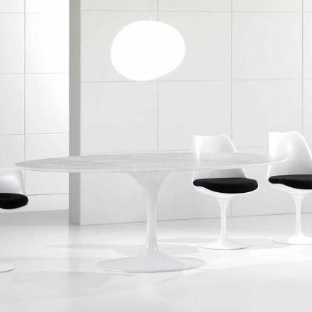 Tabela Luksoze Oval Luksoze, Mermeri Carrara Top, Made in Italy - Nerone