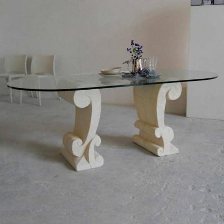 Tavolinë ngrënieje me bazën e gurit natyror Vicenza dhe majën kristal Aracne