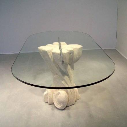 Tavolinë ngrënieje me majë kristali dhe baza e gurit natyror Vicenza Afrodite