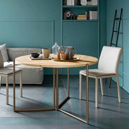 Tavolinë ngrënieje moderne të palosshme në dru dhe metal prodhuar në Itali - Menelao