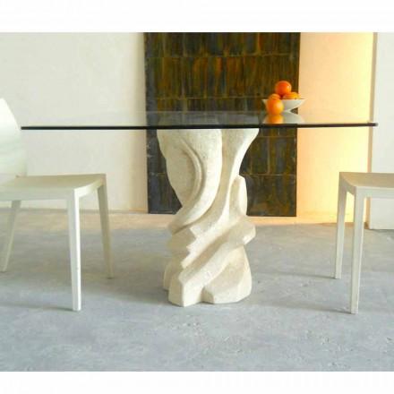 Tavolina ngrënie me katror Leda, majë kristali, baza e gurit natyror Vicenza