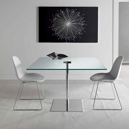 Tavolina e ngrënies katrore në xham ekstra dhe metali të bërë në Itali - Dolce