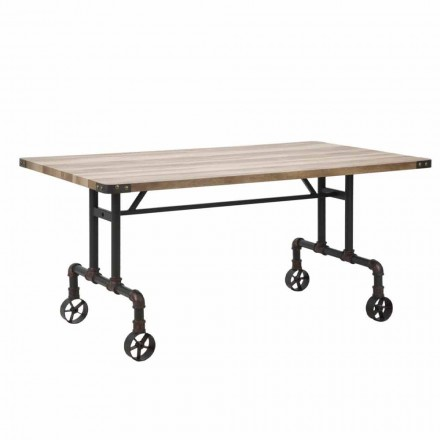 Dizajn drejtkëndëshe tryezë ngrënieje, MDF e sipërme dhe baza metalike - Fabrice