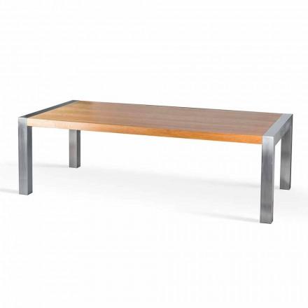 Tavolina e ngrënies Frodo, prej druri lisi dhe çeliku, e bërë në Itali