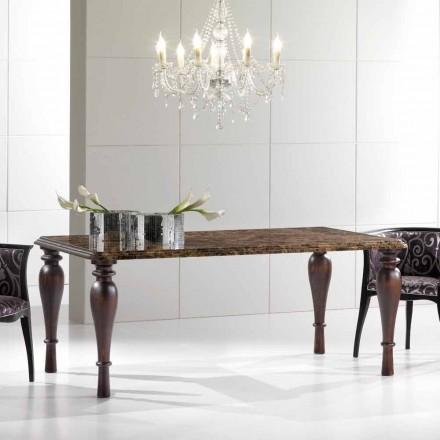 Tavolinë ngrënieje drejtkëndëshe në Emperador Mermeri të errët Made in Italy - Nicolas