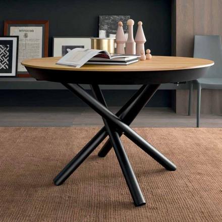 Tavolinë e rrumbullakët për darkë të zgjerueshme me majë druri të prodhuar në Itali - Crodino