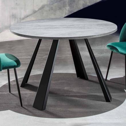 Tavolina e rrumbullakët e darkës e zgjatshme Deri në 370 cm në dru dhe metal - Caimano