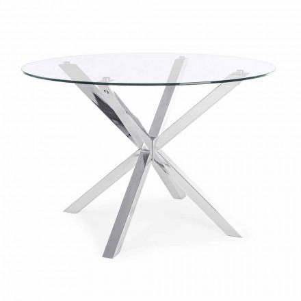 Homemotion tryezë e rrumbullakët për darkë me majë xhami të zbutur - Denda
