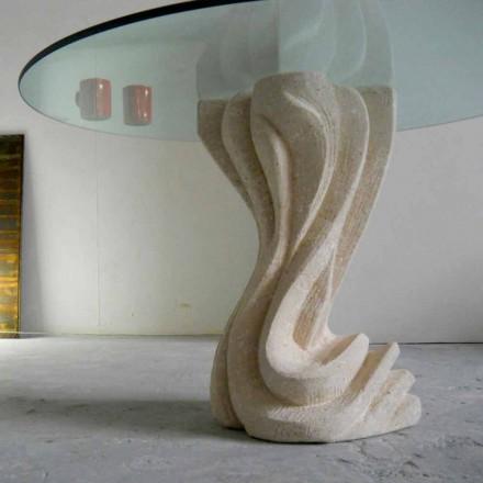 Tavolinë e rrumbullakët ngrënie e bërë nga guri natyror Vicenza dhe kristali Cadmo