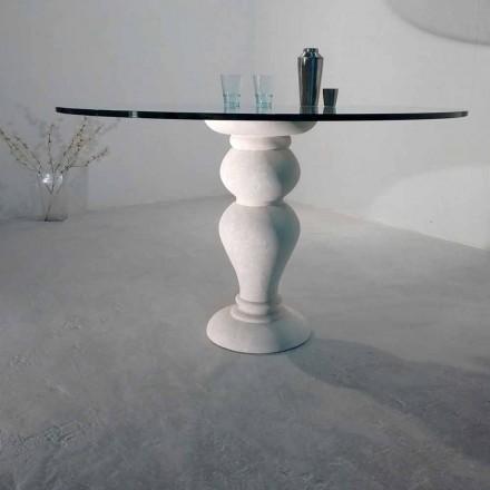Tavolinë e rrumbullakët ngrënie e bërë nga kristali dhe guri natyror Vicenza Edipo