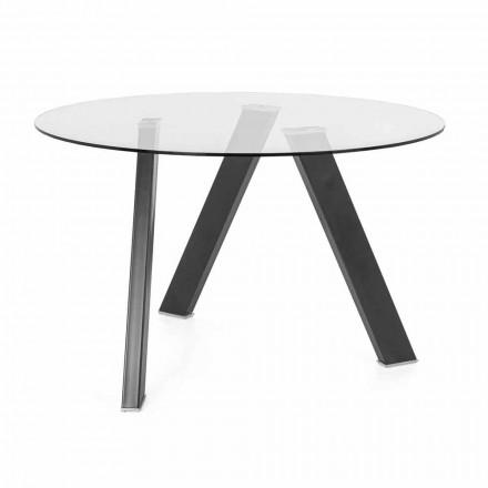 Diametri i tryezës së ngrënies së rrumbullakët 120 cm në Dizajn qelqi dhe metali - Tonto