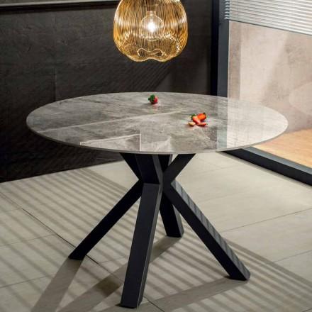 Tavolina e Rrumbullakët e Darkës Moderne në Efektin e Mermerit Qeramik dhe Metalin - Jarvis