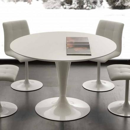 Tavolinë ngrënieje e rrumbullakët e bardhë Topeka, dizajn modern