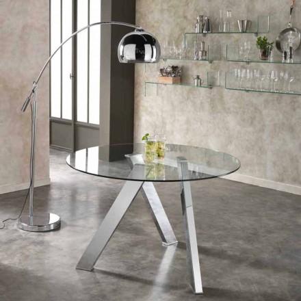 Tavolinë xhami e rrumbullakët Adamo, dizajn modern