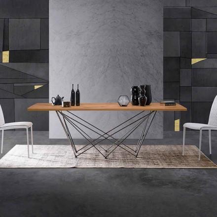 Tabela moderne e projektimit me majë druri dhe një bazë metalike, Esperia