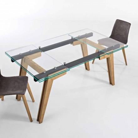 Tavolinë e zgjatur në xham dhe dru të ngurtë të bërë në Itali, Dimitri