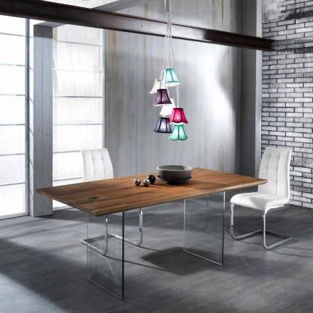 Tavolina ngrënieje me stil modern, Tito e bërë nga qelqi i rrëmbyer dhe druri i ngurtë