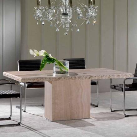 Tavolinë ngrënieje prej guri Travertine, dizajn modern, Narciso